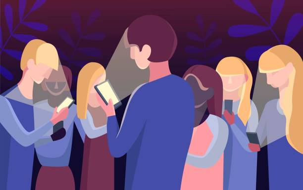 Group of people staring at their mobile phones in minimal flat design Group of people staring at their mobile phones in minimal flat design addict stock illustrations