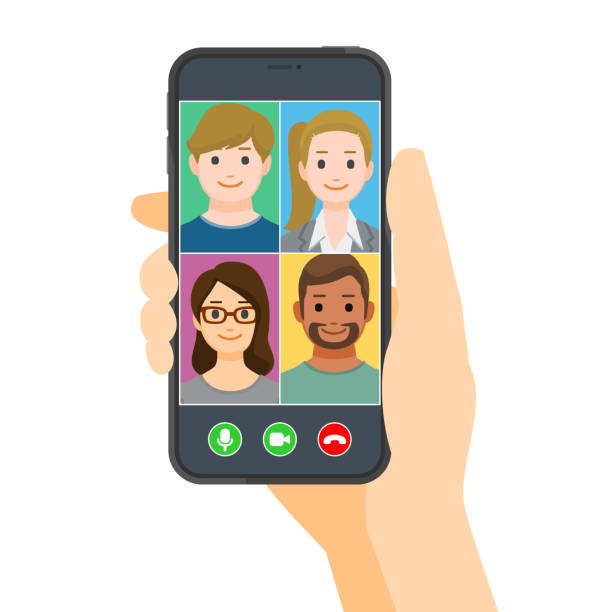 Group of people talking and meeting in video call vector art illustration