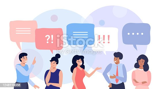 Group of people talking and thinking, friends with speech bubbles, vector flat illustration