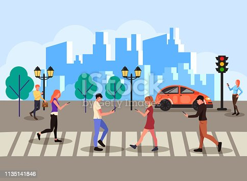 Group of people texting messages online by smartphone laptop internet social network and walking across pedestrian. Technology communication concept. Vector flat cartoon isolated banner poster