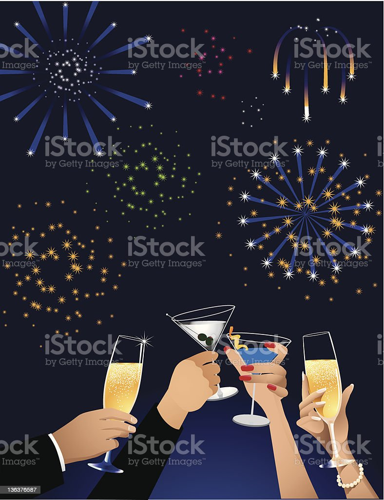 Group of people toasting and celebrating the new year royalty-free stock vector art