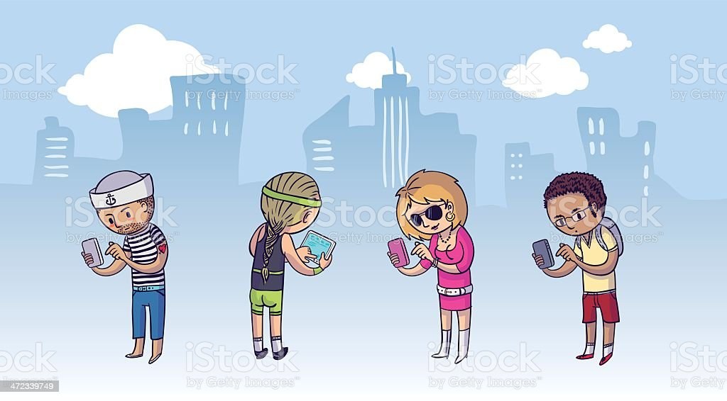 Group of people using mobile devices royalty-free group of people using mobile devices stock vector art & more images of adult