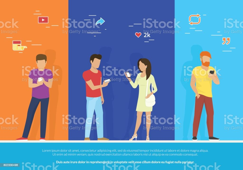 Group of people using smartphone concept vector illustration