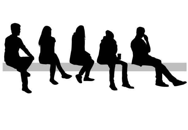 ilustrações, clipart, desenhos animados e ícones de grupo de pessoas. - banco assento