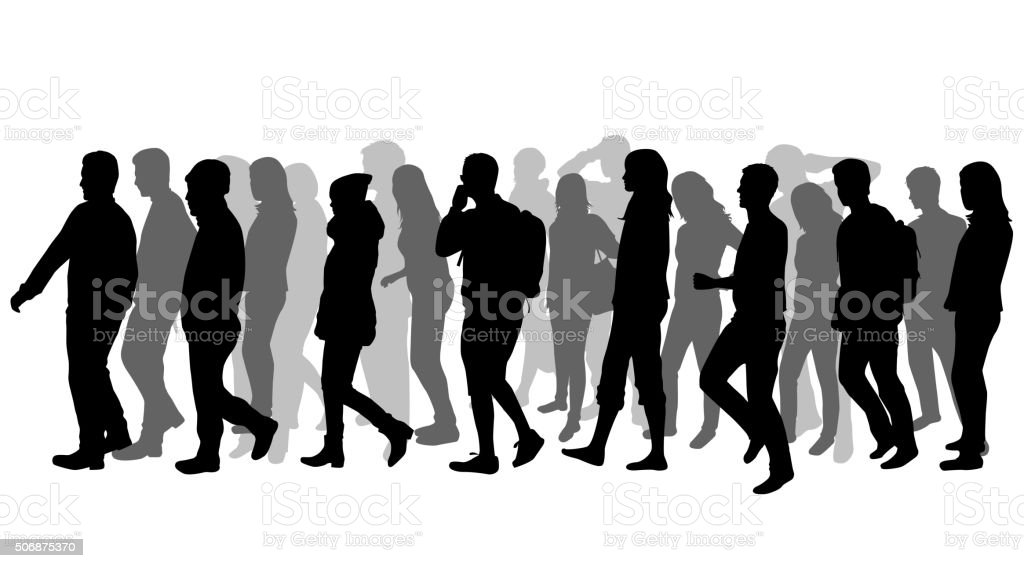 royalty free group of people walking clip art vector images rh istockphoto com