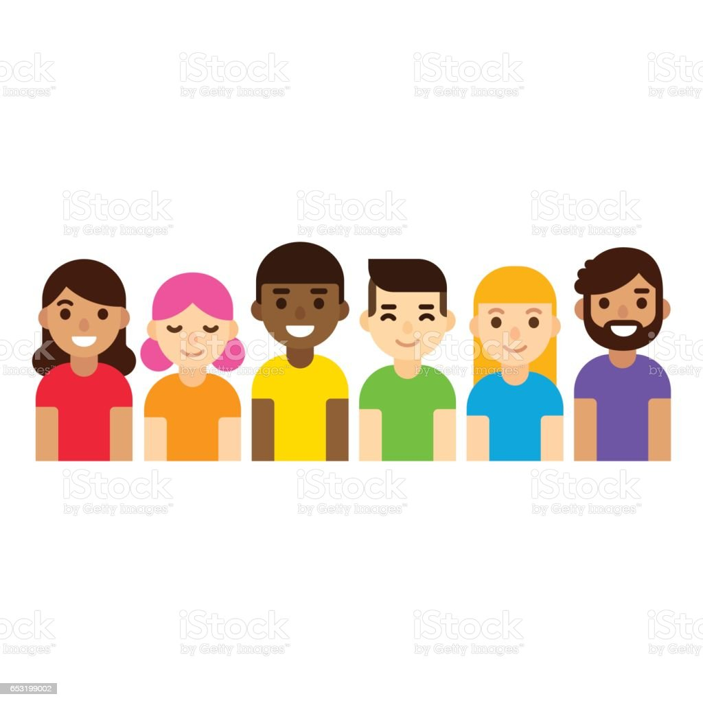 LGBT group of people vector art illustration