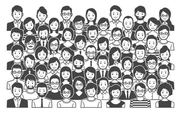 ilustraciones, imágenes clip art, dibujos animados e iconos de stock de grupo de personas - asian woman