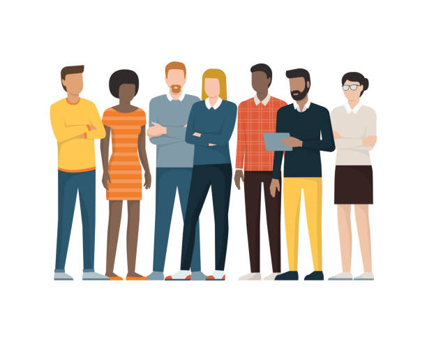 group of people - standing stock illustrations