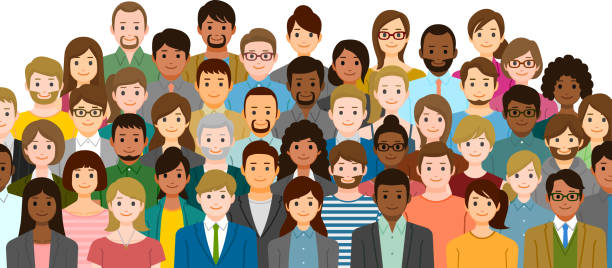 Group of people Group of people. Created with adobe illustrator. cartoon people stock illustrations