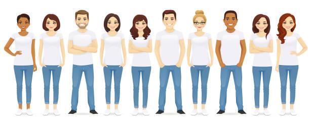 ilustrações de stock, clip art, desenhos animados e ícones de group of people - homem casual standing sorrir