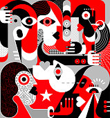 Large group of people vector illustration. Modern abstract fine art painting. Red, black, grey and white.
