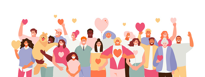 Large crowd of people volunteer with hearts in their hands. Volunteer day concept vector illustration banner