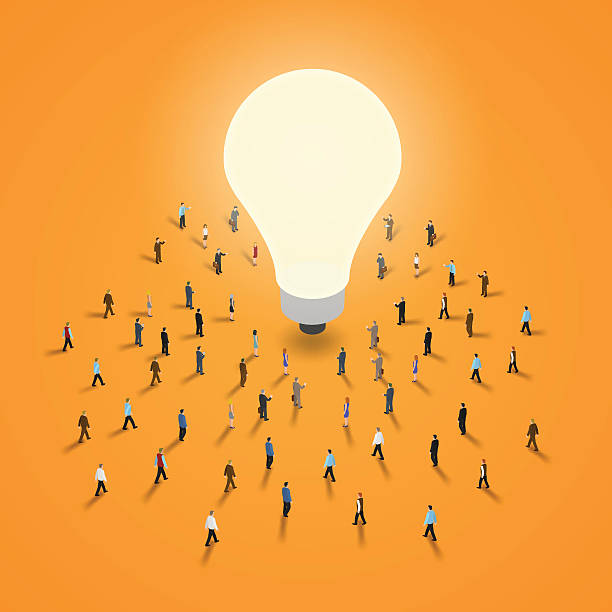 Group of people walking to a light bulb. A group of people walking to a light bulb. It 's a brainstorm, inspiration, idea business concept. Isometric illustration vector EPS 10. small stock illustrations