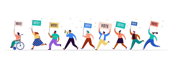 Group of people, walking with flags to elections. Crowd of women and men at a demonstration. Concept for election campaign, voting theme background. Vector illustration
