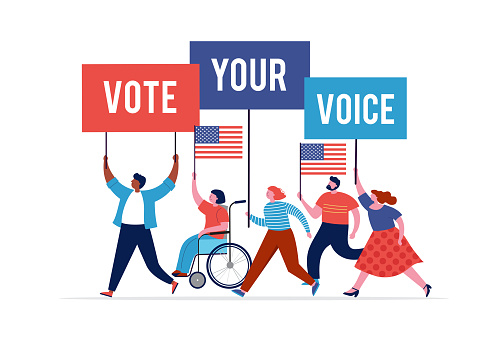 Group of people, walking with flags to elections. Crowd of women and men at a demonstration. Concept for election campaign, voting theme vector background. Vector illustration