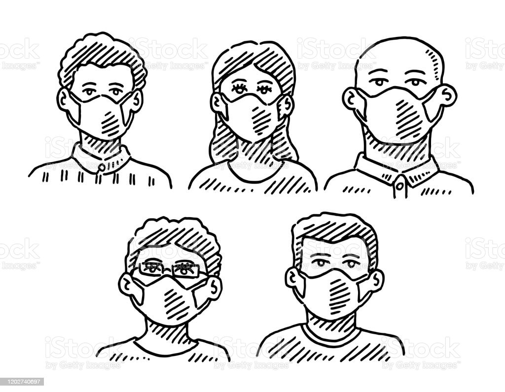 Group Of People Wearing A Face Mask Drawing Stock Illustration Download Image Now Istock