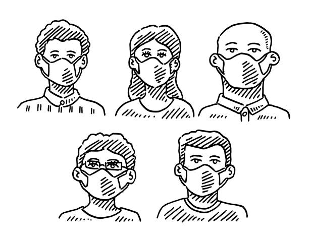 Group Of People Wearing A Face Mask Drawing Hand-drawn vector drawing of a Group Of People Wearing A Face Mask. Black-and-White sketch on a transparent background (.eps-file). Included files are EPS (v10) and Hi-Res JPG. women stock illustrations