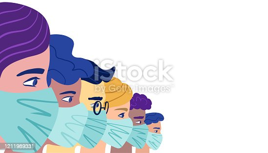 istock A group of people wearing a protective medical mask to prevent coronavirus. Vector concept of coronavirus quarantine. 1211989331