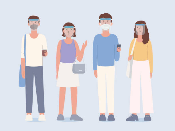 Group of People wearing clear Plastic face shield and surgical mask covers the face with clothing in lifestyle that is a New normal of now peoples. New culture. vector art illustration