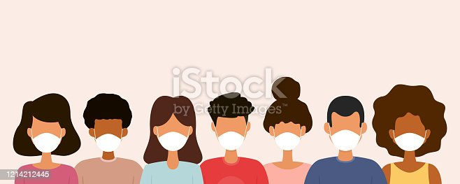 Group of people wearing medical face masks. Protection against virus. Vector illustration.
