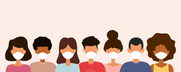 Group of people wearing medical face masks. Protection against virus. Group of people wearing medical face masks. Protection against virus. Vector illustration. protective face mask stock illustrations