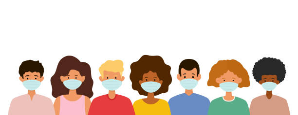 Group of people wearing medical face masks. Protection against virus. vector art illustration