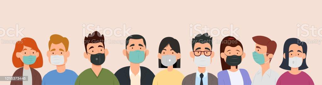 Gruppe von Menschen, die medizinische Masken tragen, um Krankheiten, Grippe, Luftverschmutzung, kontaminierte Luft, Weltverschmutzung zu verhindern. - Lizenzfrei Ansteckende Krankheit Vektorgrafik