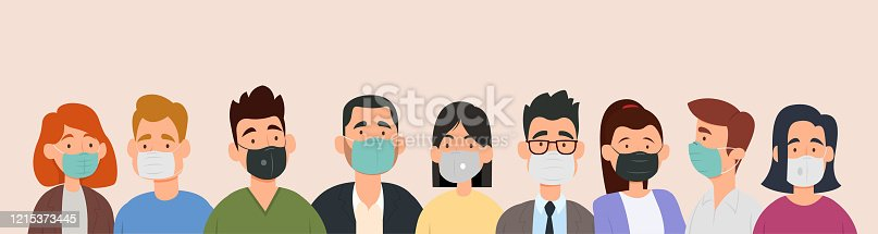 istock Group of people wearing medical masks to prevent disease, flu, air pollution, contaminated air, world pollution. 1215373445