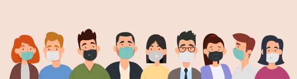 病気、インフルエンザ、大気汚染、汚染された空気、世界の汚染を防ぐために医療マスクを着用している人々のグループ。 - マスク点のイラスト素材/クリップアート素材/マンガ素材/アイコン素材
