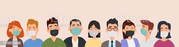 Gruppe Von Menschen Die Medizinische Masken Tragen Um Krankheiten Grippe Luftverschmutzung Kontaminierte Luft Weltverschmutzung Zu Verhindern Stock Vektor Art und mehr Bilder von Ansteckende Krankheit