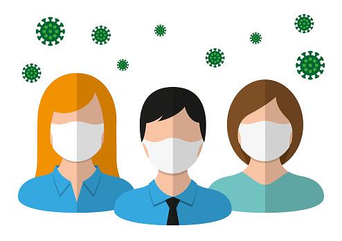 Group of people wearing medical masks
