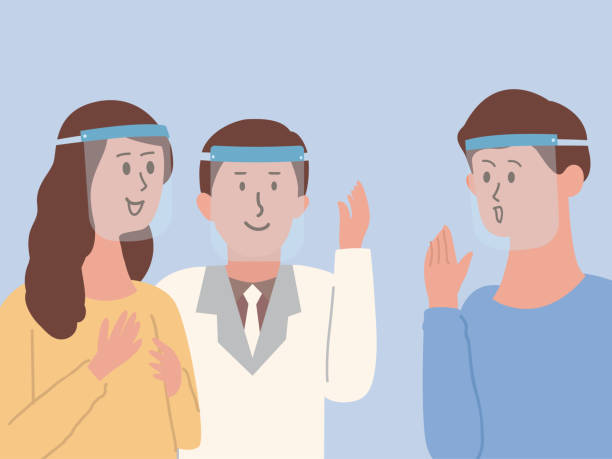 illustrazioni stock, clip art, cartoni animati e icone di tendenza di group of people wearing plastic face shield to protect virus spread while they talking about business with colleagues. illustration about the new normal of people. - appalti pubblici