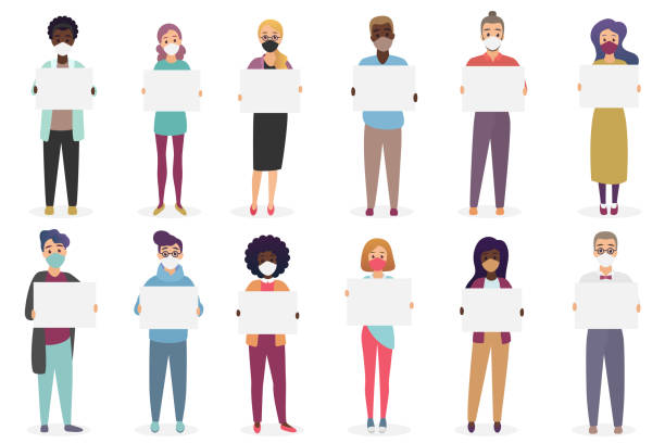 Group of people wearing protective medical masks to prevent disease, coronavirus, flu, air pollution, corona virus covid-19 holding demonstrating empty blank banners posters flat vector illustration vector art illustration