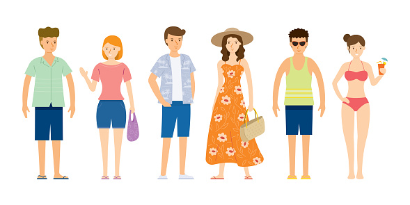 Group of People wearing Summer Clothes, Beach Concept