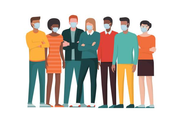 Gruppe von Menschen, die chirurgische Masken tragen und zusammenstehen – Vektorgrafik