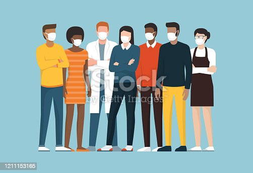 istock Group of people wearing surgical masks and standing together 1211153165