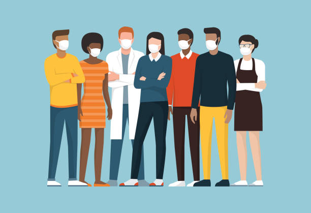 Group of people wearing surgical masks and standing together vector art illustration