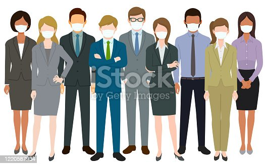 istock Group of people wearing surgical masks and standing together 1220587934