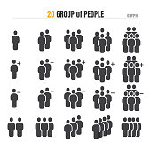 istock Group of People with add Plus and Delete. Modern Design Glyph Icon Illustration Vector EPS 10. 1219655425