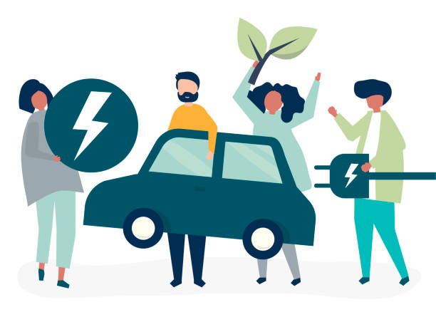 Group of people with an electric car Group of people with an electric car electric car stock illustrations