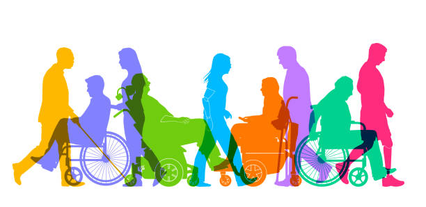 Group of People with Different Disabilities Large group of people representing a diverse range of Disabilities in society community silhouettes stock illustrations