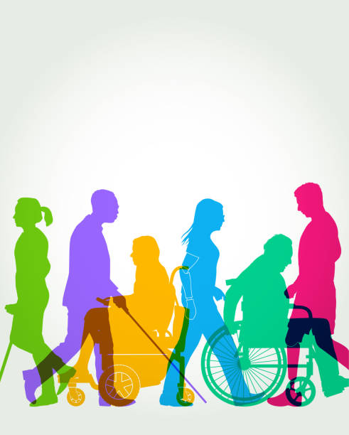 Group of People with Disabilities vector art illustration