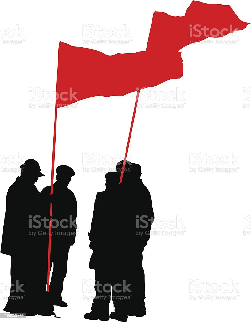 Group of people with flags royalty-free stock vector art