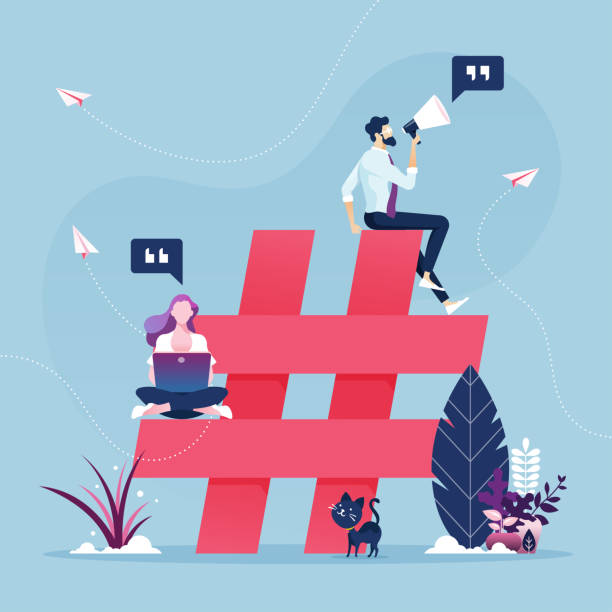 Group of people with hashtag icon-Social media marketing concept Group of people with hashtag icon-Social media marketing concept social media stock illustrations