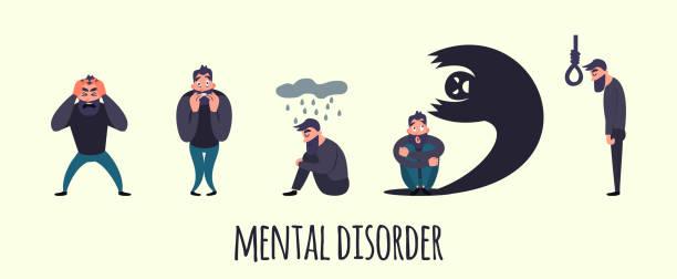 stockillustraties, clipart, cartoons en iconen met groep van mensen met psychologie of psychiatrische problemen. de mannen van de ziekte in angststoornis. fobie, zelfmoord, angst en andere psychische stoornis vectorillustratie - paranoïde