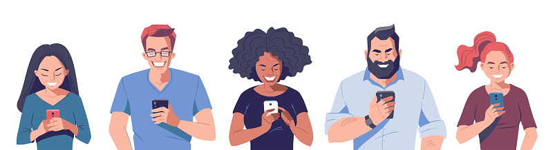 Group of people with smartphones. Vector character illustration.