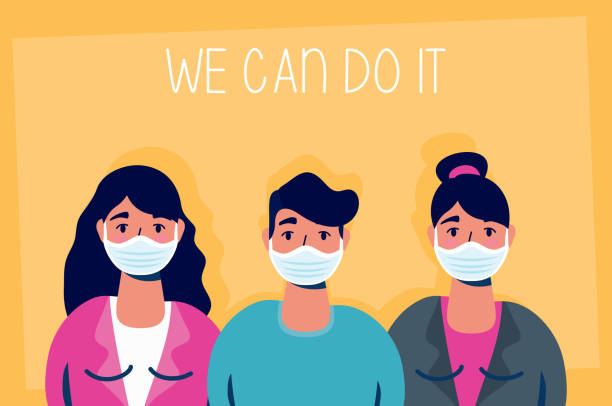 group of people with we can do it message vector art illustration