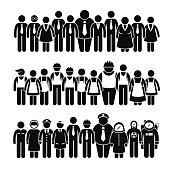 A set of human pictogram representing a group of workers and professionals from various industry standing and working towards a strong company and union.