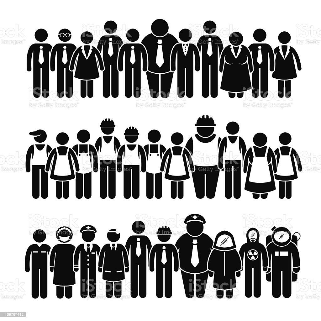 Groupe de personnes de diverses professions Travailleur Stick Figure Pictogram icônes - Illustration vectorielle
