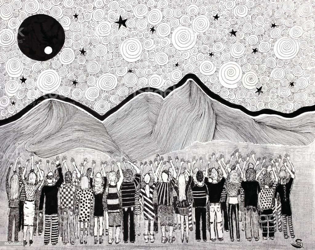 Gruppe von Menschen, die Verehrung der Sonne – Vektorgrafik